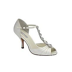 Benjamin Adams - Ivory silk 'Mia' mid heel vintage t-bar sandal