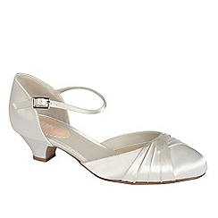 Pink by Paradox London - Ivory satin 'Protea' low heel shoe