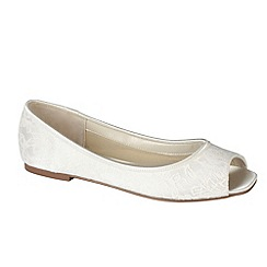 Pink by Paradox London - Ivory satin & lace 'Waterlilly' peep toe flat shoe