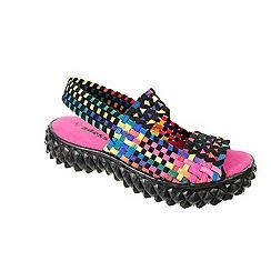Adesso - Multi-coloured black tutti fruitti 'Bess' ladies open toe mary janes