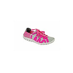 Adesso - Grey & neon fuchsia 'Brooke' ladies lace up shoes