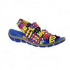 Adesso - Multi coloured tutti frutti 'Ria' ladies sandals with elasticated ankle straps
