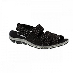 Adesso - Black & silver 'Ria' ladies sandals with elasticated ankle straps