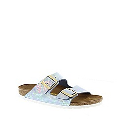 Birkenstock - Blue Shiny Snake Sky 'Arizona' slip narrow fit sandals