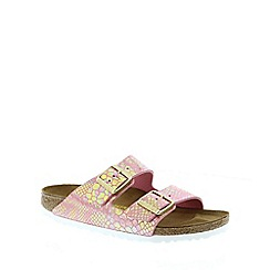 Birkenstock - Pink Shiny Snake Rose 'Arizona' slip on narrow fit sandals