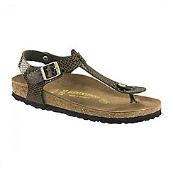 Birkenstock - Dark green 'Shiny Snake Kario' ladies sandal