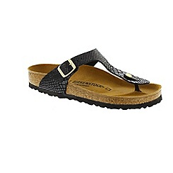 Birkenstock - Black Shiny Snake 'Gizeh' ladies sandal