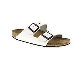 Birkenstock - White Patent 'Arizona' mule sandals