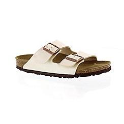 Birkenstock - Off white 'Arizona' peep toe mule sandals