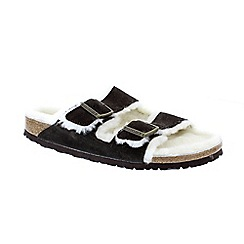 Birkenstock - Black Mocha Sheepskin 'Arizona' Womens Sandals