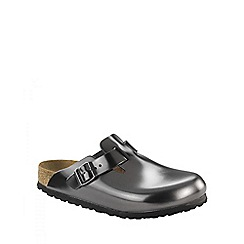 Birkenstock - Grey Metallic Anthracite 'Boston' ladies clogs