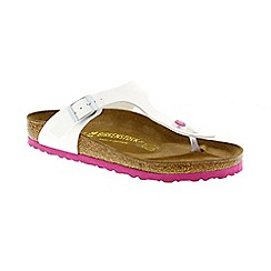 Birkenstock - White & pink patent 'Gizeh' ladies thong sandals