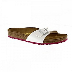 Birkenstock - White/ pink 'Madrid' ladies single strap sandals
