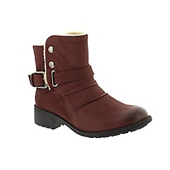 Earth Spirit - Red leather 'Clarksville' ankle boots