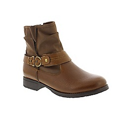 Earth Spirit - Brown leather 'Hayfield' biker boots