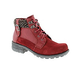 Earth Spirit - Aqua red suede ankle boots