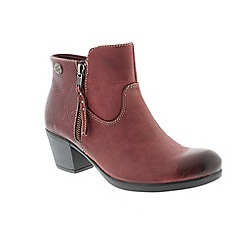 Earth Spirit - Red leather 'Montgomery' ankle boots