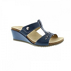 Earth Spirit - Blue 'Charlotte' ladies wedged sandal