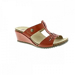 Earth Spirit - Red 'Charlotte' ladies wedged sandals