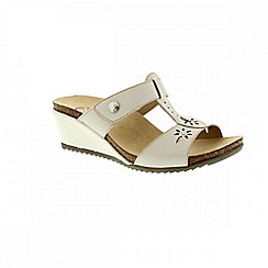 Earth Spirit - White 'Charlotte' ladies wedged sandals