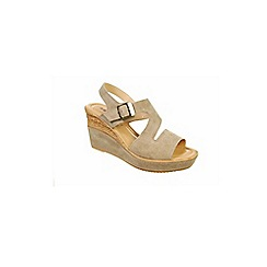 Adesso - Beige mushroom 'Isla' ladies wedge heeled sandals