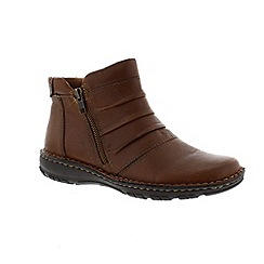 Earth Spirit - Almond ladies 'New Mexico' ankle boots with zip