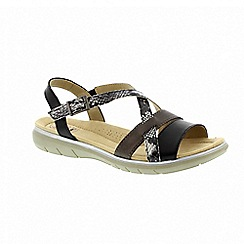 Earth Spirit - Aqua black leather 'Oceanside' slingback sandals