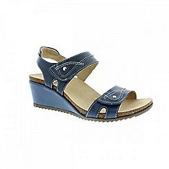 Earth Spirit - Blue 'Portland' ladies wedged sandals