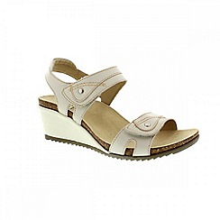 Earth Spirit - White 'Portland' ladies wedged sandals