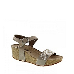 Mephisto - Light grey sandalbuck 'fanie spark' ladies wedge heeled sandals