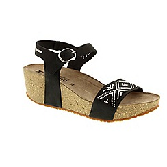 Mephisto - Black sandalbuck 'Fanie spark' ladies wedges