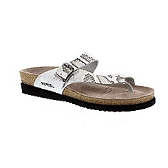 Mephisto - Silver 'Helen' ladies toe post sandals with buckle