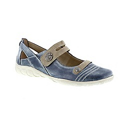 Remonte - Blue ladies mary-jane shoe with velcro fastening