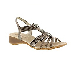 Remonte - Gold ladies sandal with jewel detailing