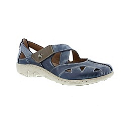 Remonte - Blue Blue Ladies casual shoe with rip tape strap and cut out effect