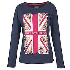 Help for Heroes - Navy heart flag long sleeve T-shirt