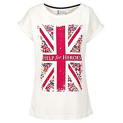 Help for Heroes - Off white floral flag boyfriend T-shirt