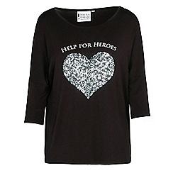 Help for Heroes - Black sequin heart T-shirt