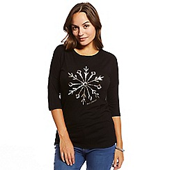 Help for Heroes - Black snowflake sequin t-shirt