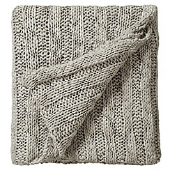 Bedeck - Taupe 'Drift' knitted throw