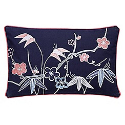 V & A - Navy cotton canvas 'Akimi' cushion