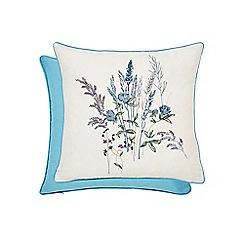 V & A - Blue cotton sateen 200 thread count 'Blythe Meadow' cushion