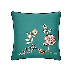 V & A - Dark turquoise cotton sateen 'Country Meadow' cushion