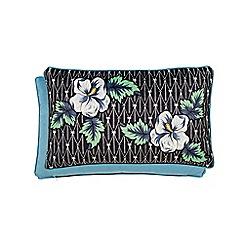 V & A - Black polyester velvet 'Gardenia' cushion