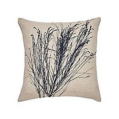 Clarissa Hulse - Natural linen 'Indigo Patchwork' cushion
