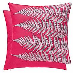 Clarissa Hulse - Bright pink cotton canvas 'Mini Patchwork' cushion