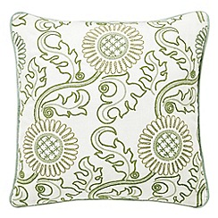 Morris & Co - Light green linen and cotton 'Willow Bough' cushion