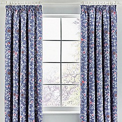 V & A - Blue cotton sateen 'Akimi' curtains