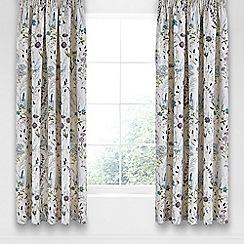 V & A - Blue cotton sateen 'Blythe Meadow' curtains