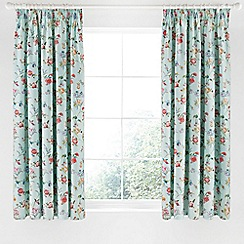 V & A - Aqua cotton sateen 'Country Meadow' curtains